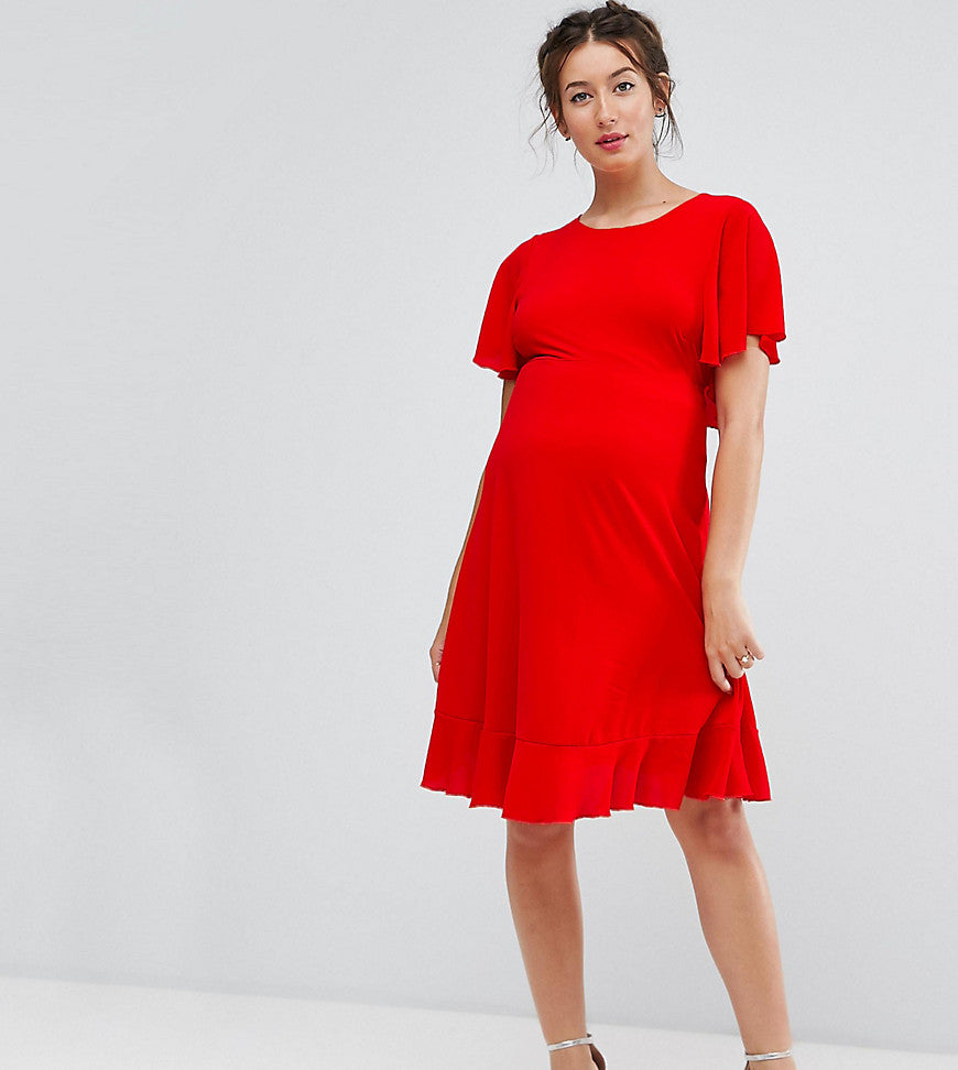 Queen Bee Maternity Tea Dress With Ruffle Hem - Red