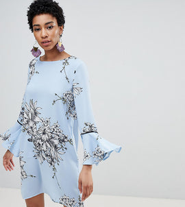 Vero Moda Tall Floral Frill Sleeve Shift Dress - Multi