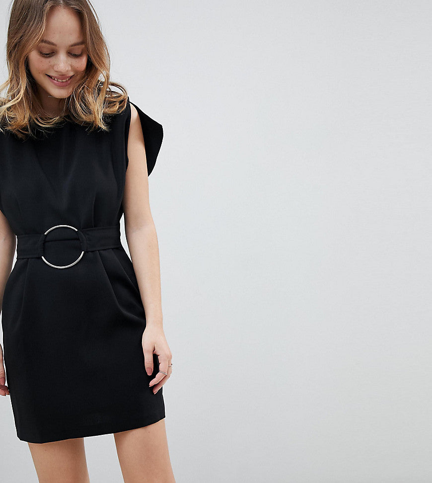 ASOS Petite Split Sleeve Cap Sleeve Mini Dress with Circle Belt - Black