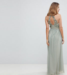 Little Mistress Petite Wrapover Front Maxi Dress With Lace Applique Back Detail - Waterlily