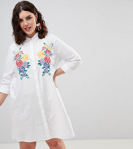 ASOS DESIGN Curve Cotton Shirt Dress with Embroidery - White