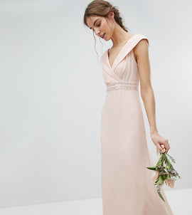 TFNC Tall Bardot Maxi Bridesmaid Dress With Fishtail and Embellished Waist - Nude