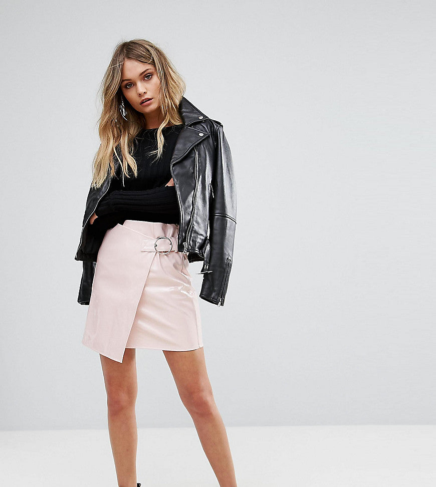 Missguided Vinyl Buckle Strap Mini Skirt - Pink
