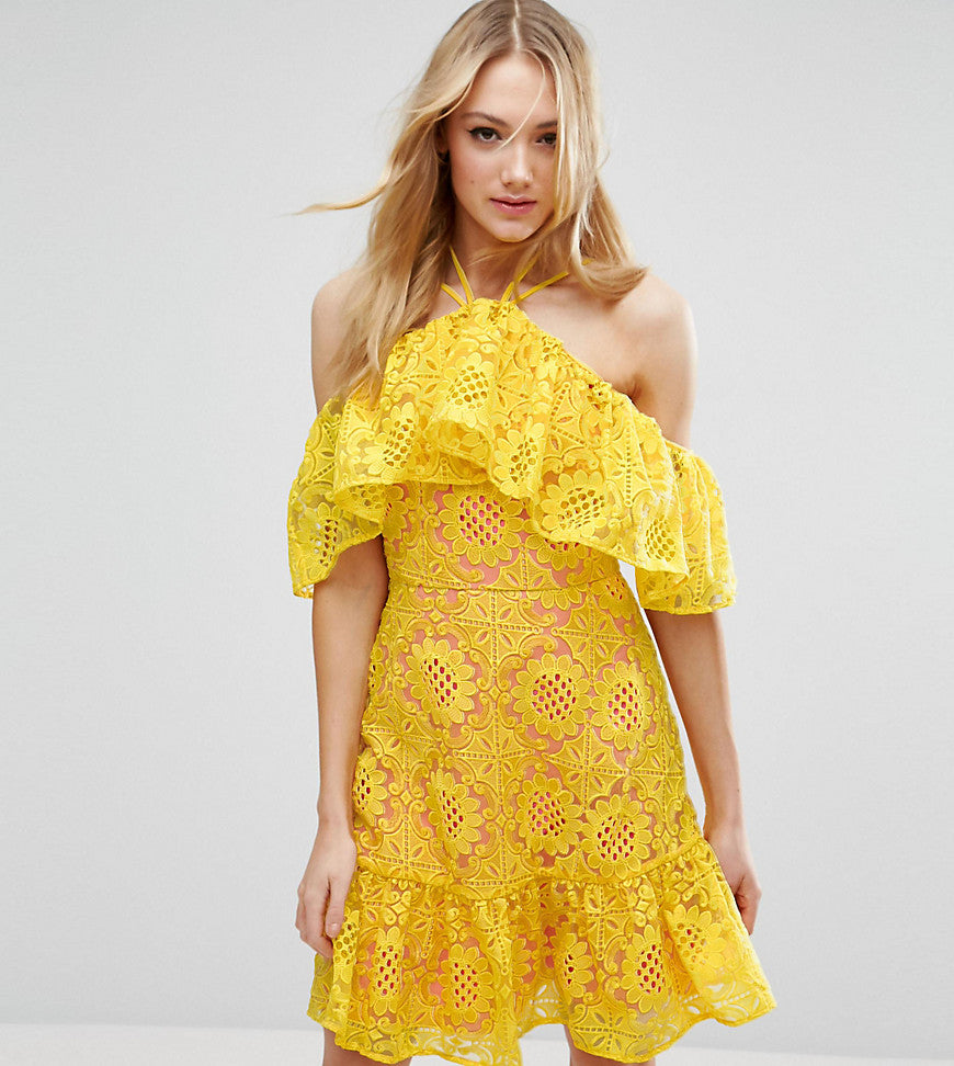 ASOS TALL PREMIUM Lace Off Shoulder Dress With Contrast Lining - Yellow