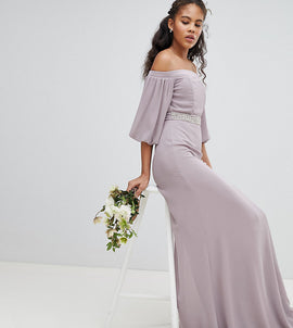 TFNC Tall Bardot Maxi Bridesmaid Dress with Sleeve Drama and Embellished Waist - Grey