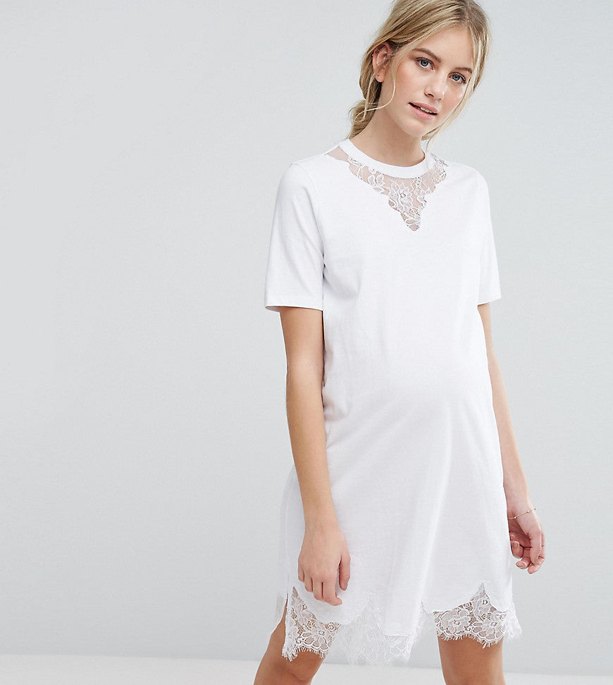 ASOS Maternity T-Shirt Dress with Lace Inserts - White