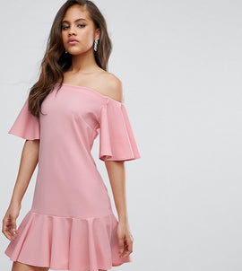 John Zack Tall Off Shoulder Mini Dress With Fluted Hem Detail - Nude