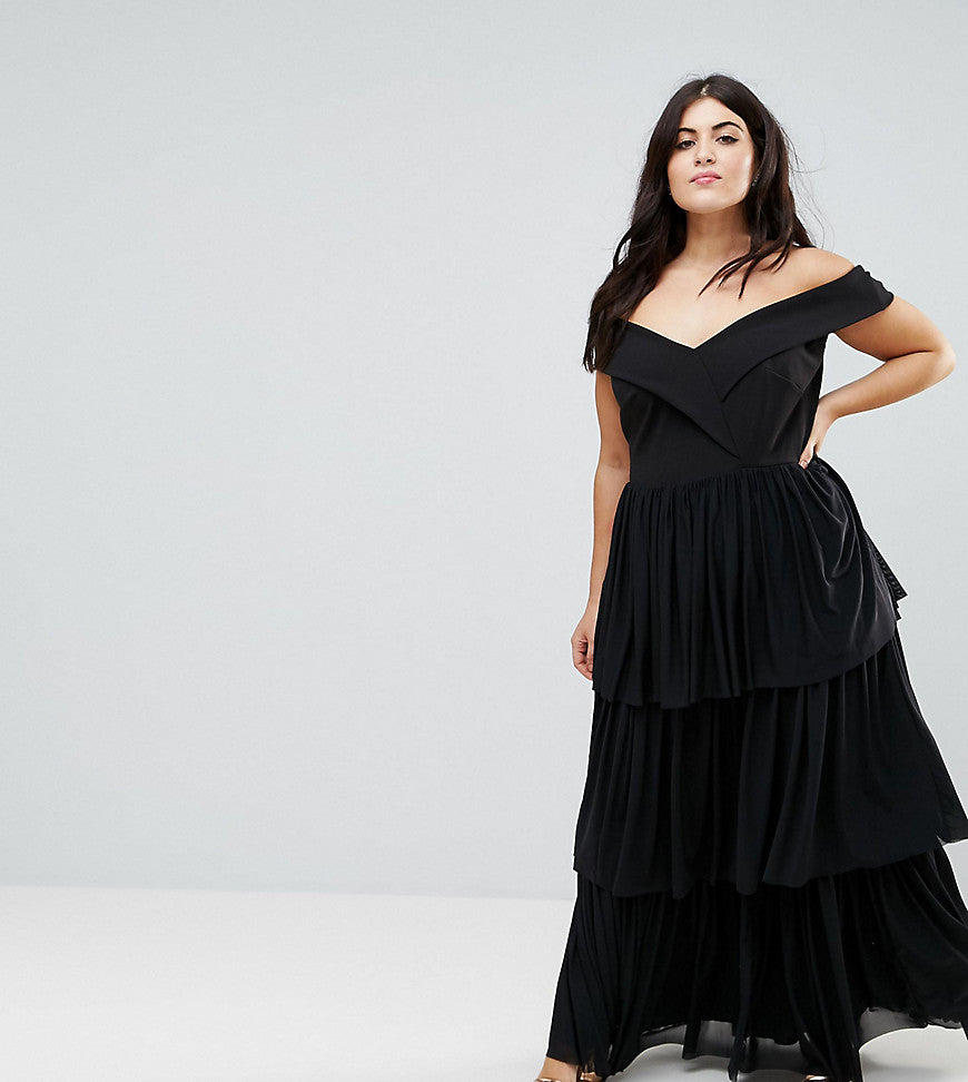 Club L Plus Off The Shoulder Tiered Maxi Dress - Black
