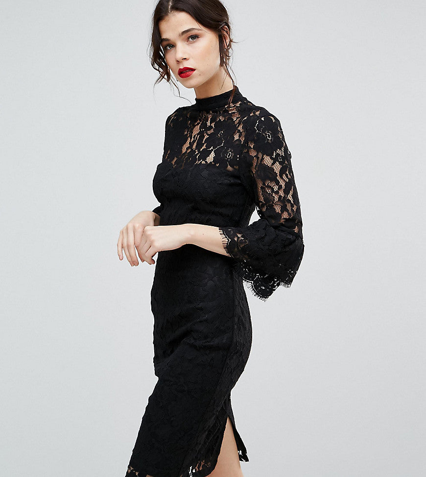 Paper Dolls Tall High Neck Midi Lace Dress with Double Frill Sleeve - Black