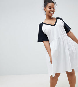ASOS DESIGN Curve smock dress with v neck and contrast sleeves - White/black