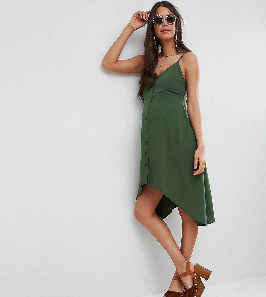 ASOS Maternity Button ThroughSun Dress with Dipped Hem - Khaki