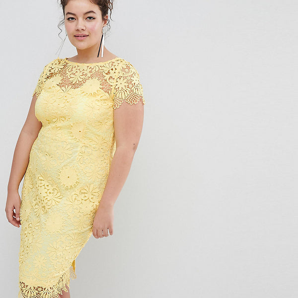 Paper Dolls Plus Cap Sleeve Sweetheart Detail All Over Crochet Lace Pencil Dress - Yellow