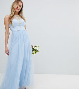 Chi Chi London Petite Bardot Neck Sleeveless Maxi Dress with Premium Lace and Tulle Skirt - Bluebell/gold