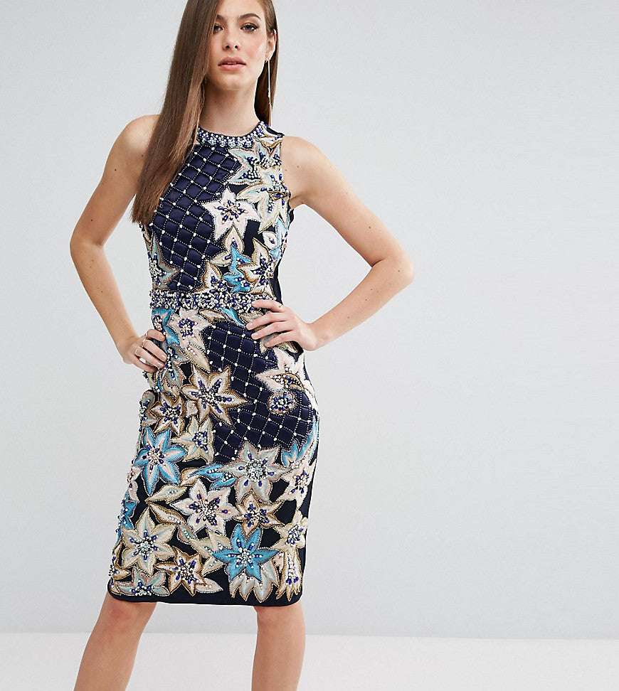 A Star Is Born Pencil Dress With Quilted Embroidery & Embellishment - Navy multi