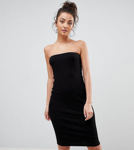 ASOS TALL Midi Bandeau Rib Bodycon Dress - Black