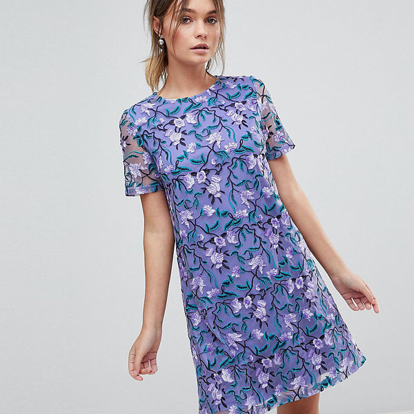 Dolly & Delicious Allover Embroidered Aline Shift Dress - Purple multi