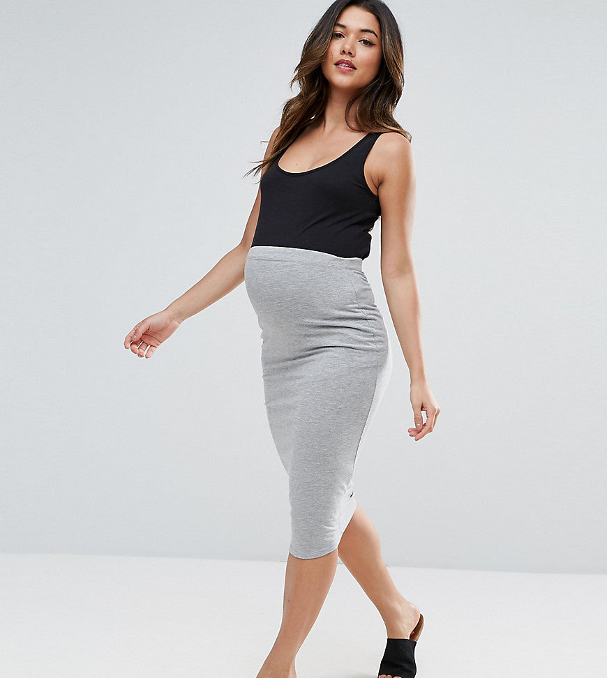 ASOS Maternity TALL Longer Line Midi Pencil Skirt in Jersey - Grey
