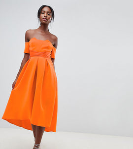 ASOS DESIGN Tall bardot pleated waist scuba midi prom dress - Orange