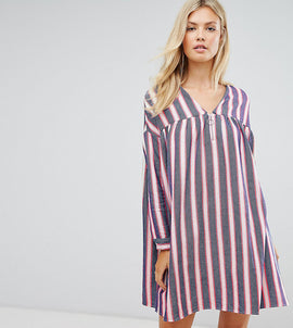 ASOS TALL Smock Dress in Natural Fibre Stripe with Zip - Multi