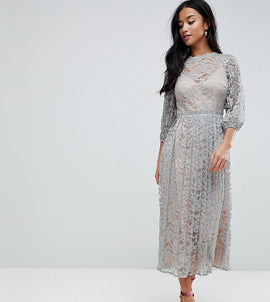 Little Mistress Petite All Over Lace Maxi Dress With Balloon Sleeve Detail - Waterlily