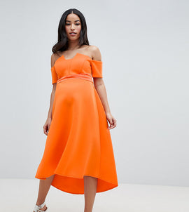 ASOS DESIGN Maternity bardot pleated waist scuba midi prom dress - Orange