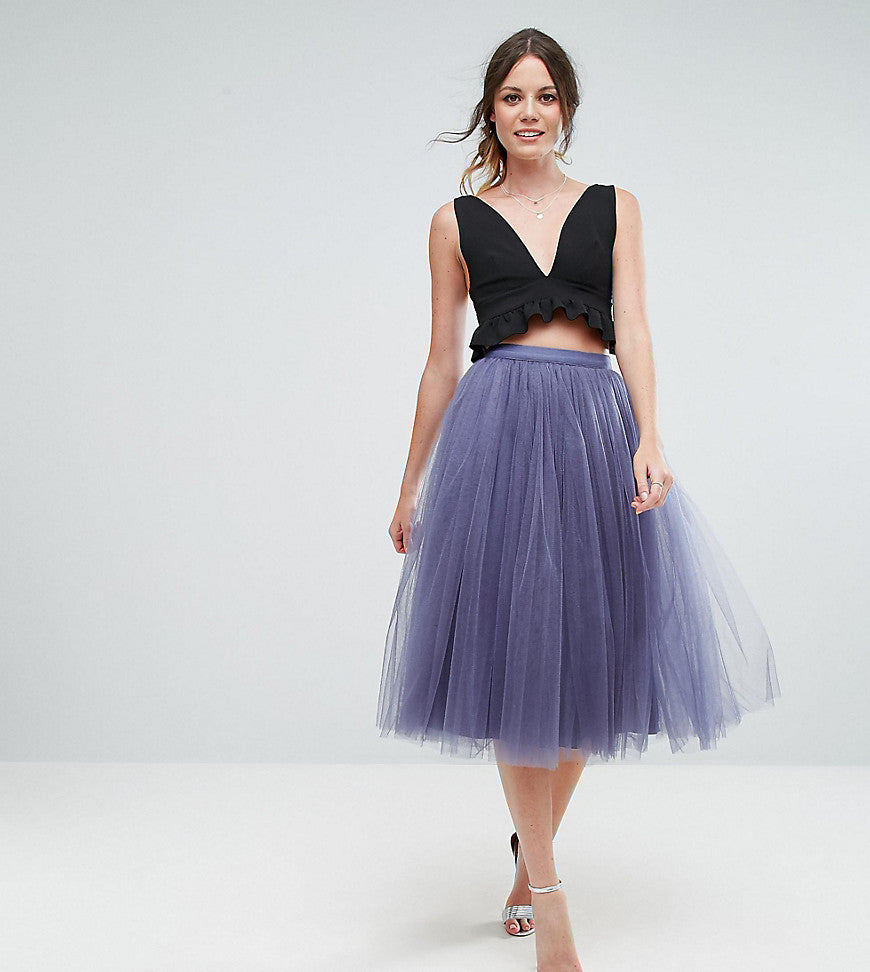 Little Mistress Tall Midi Tulle Skirt - Grey