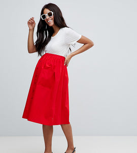 ASOS DESIGN maternity cotton midi skirt with button front - Red