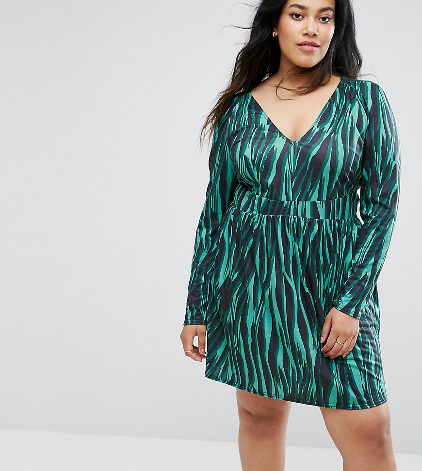 ASOS CURVE V Neck Animal Print Dress with Long Sleeve - Multi