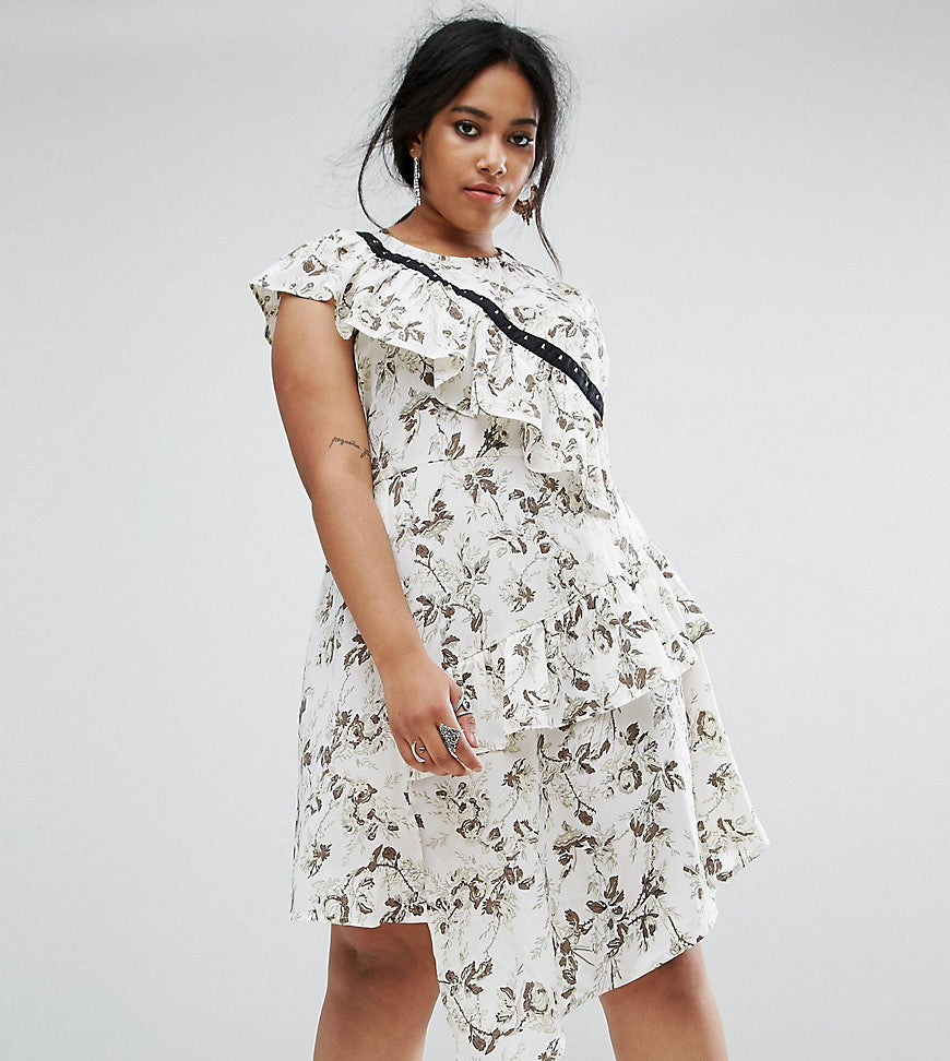 ASOS CURVE Tea Dress with Hook & Eye in Mono Floral - Multi