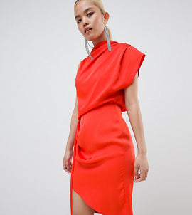 ASOS DESIGN Petite satin drape midi dress with sash detail - Blood orange