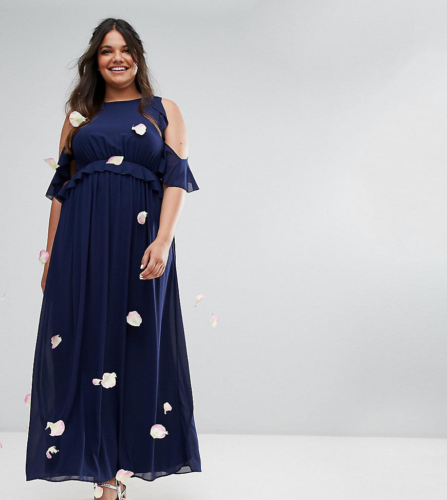 TFNC Wedding Plus Frill Detail Maxi Dress - Navy