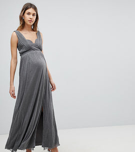 Little Mistress Maternity Metallic Jersey Maxi Dress With Wrap Detail - Silver