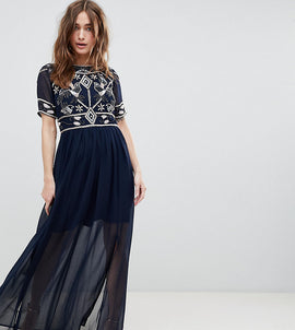 Frock And Frill Petite Embellished Top Maxi Dress - Navy