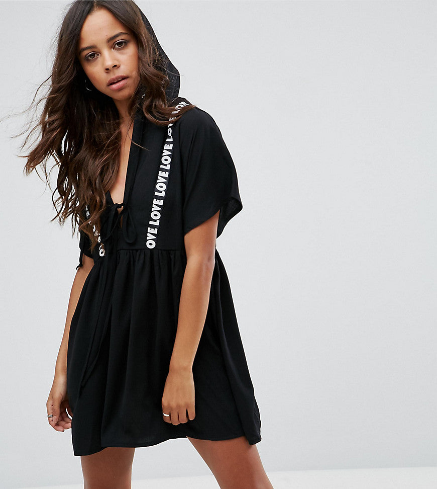 Missguided Petite Hooded Smock Dress With Love Slogan Detail - Black