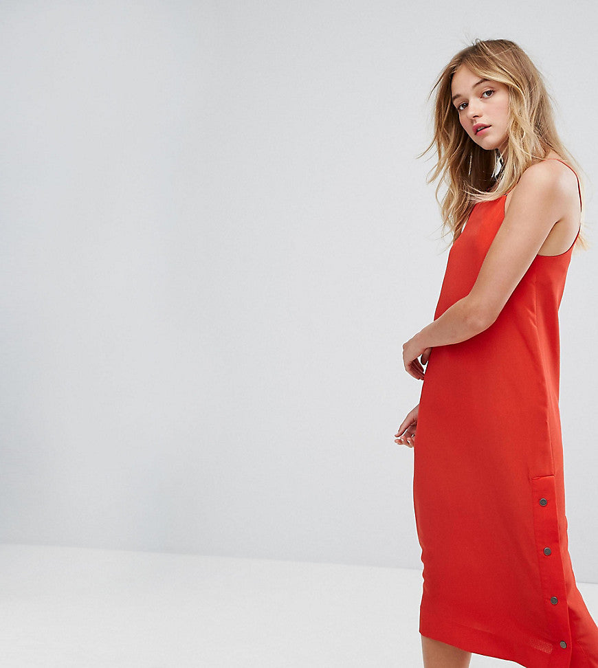 Monki Side Popper Slip Dress - Red