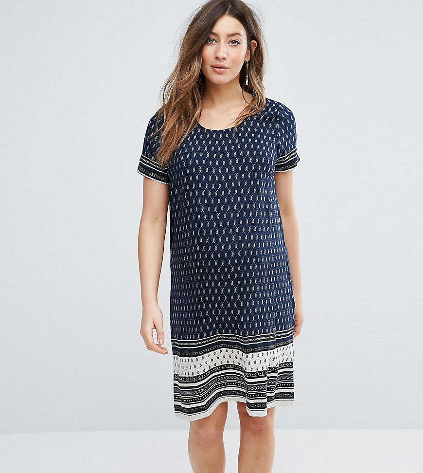 Mamalicious Border Printed Dress - Dark denim aop