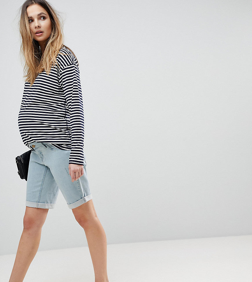 Bandia Maternity Over The Bump Boyfriend Shorts With Removable Bump Band - Abused light wash