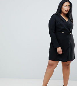 ASOS DESIGN Curve ultimate tux mini dress with gold buttons - Black