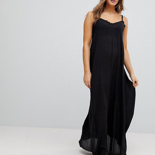 ASOS Maternity Scoop Back Maxi Dress in Crinkle - Black
