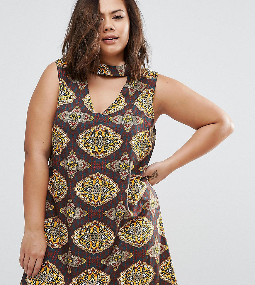 AX Paris Plus Dress With Cut Out Neckline In Scarf Print - Multi