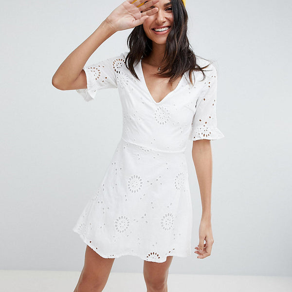 Parisian Tall Broderie Skater Dress With Frill Sleeve - White