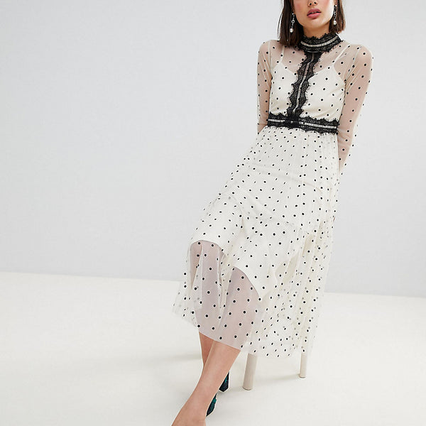 Lace & Beads Polka Dot Midi Dress With Lace Inserts - Cream