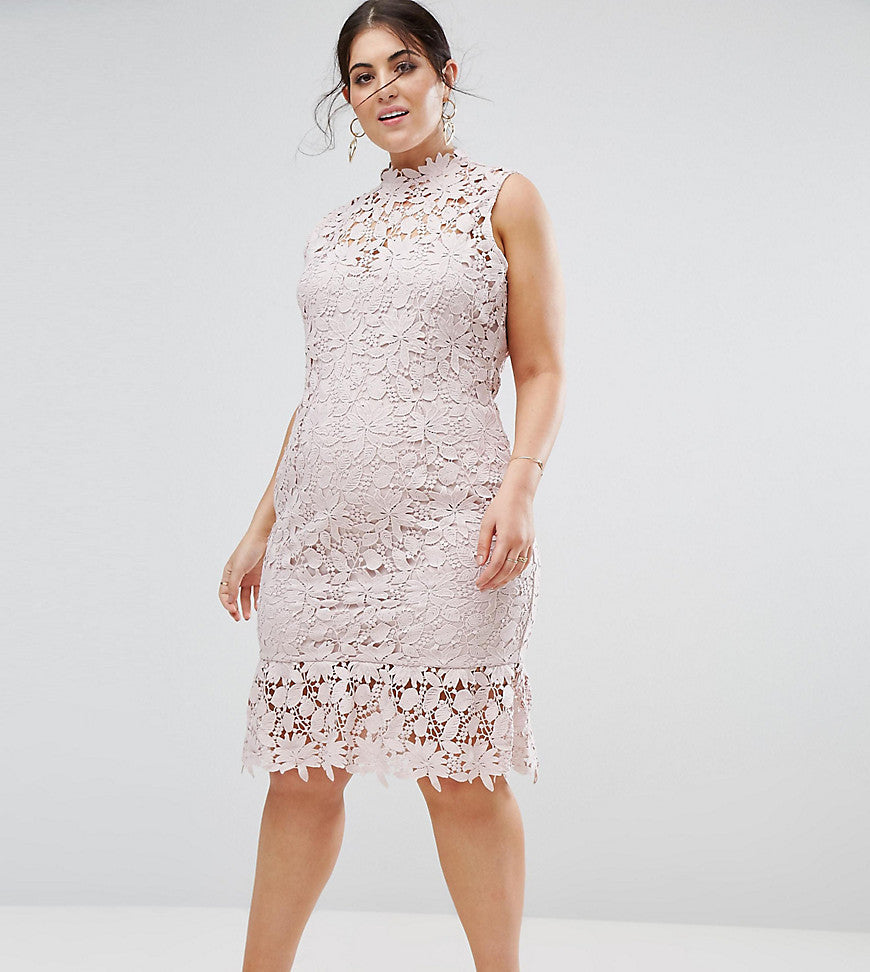 Paper Dolls Plus High Neck Lace Dress with Pephem - Light blush