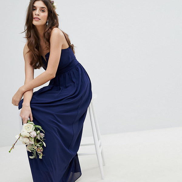 TFNC Bandeau Maxi Bridesmaid Dress - Navy