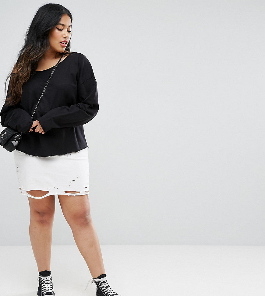 ASOS CURVE Nibbled Mini Skirt - White