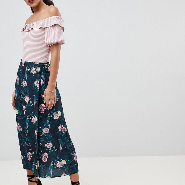 Fashion Union Tall Midi Wrap Skirt In Romantic Floral - Parrot