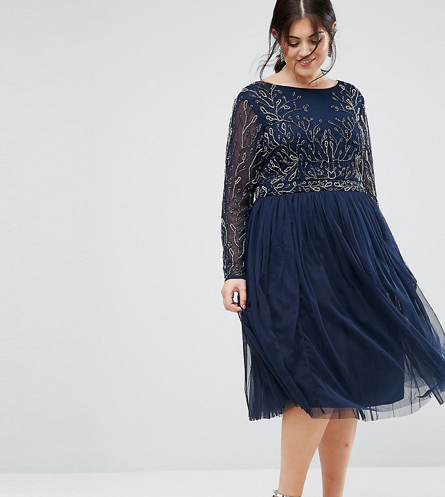 Lovedrobe Luxe Embellished Skater Dress With Tulle Skirt - Navy