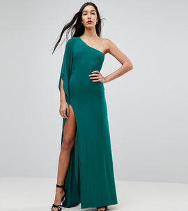 City Goddess tall One Shoulder Maxi Dress With Side Split - Emerald green