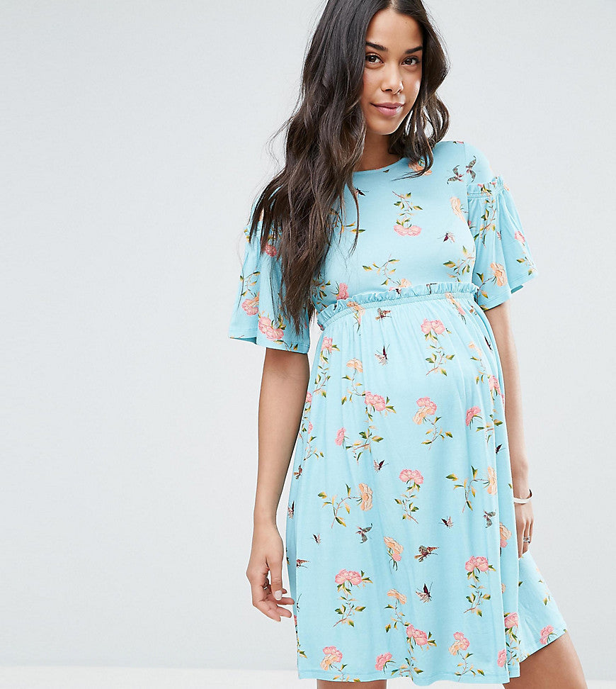 ASOS Maternity Floral Trumpet Sleeve Dress - Mint base