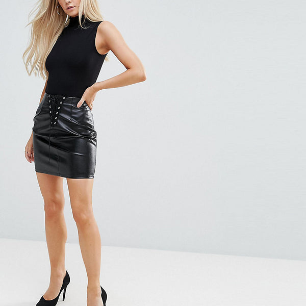 NaaNaa Petite Bodycon Mini Skirt In PU With Lace Up Detail - Black